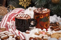 Two cups of cocoa Royalty Free Stock Image
