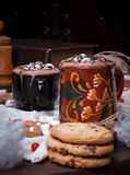 Two cups of cocoa Royalty Free Stock Photo