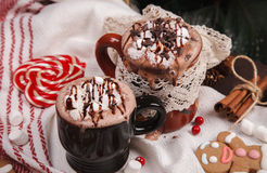 Two cups of cocoa Royalty Free Stock Photography