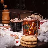 Two cups of cocoa Stock Photo