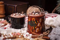 Two cups of cocoa Stock Images