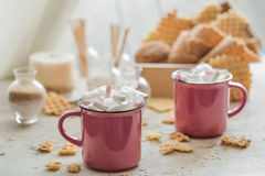 Two cups of cocoa with marshmallows Stock Images