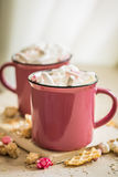 Two cups of cocoa with marshmallows Royalty Free Stock Photography