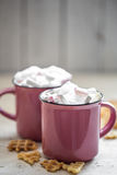 Two cups of cocoa with marshmallows Stock Photo