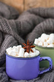Two cups of cocoa with marshmallows. Rustic style Royalty Free Stock Image