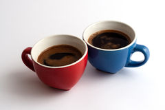 Two cups of coffe. Two cups of cofee isolated on white background stock image