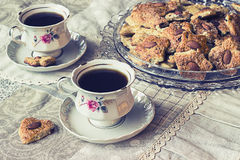 Two cups of coffe with cookies Royalty Free Stock Photo
