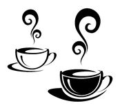 Two cups of coffee. The two cups of coffee with spiral steam. Black and white image. Illustration can be used to design menu restaurant or cafe Royalty Free Stock Photography