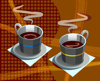 Two cups of coffee. On a background of coffee grains and curves Royalty Free Stock Photos