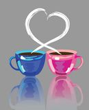 Two cups of coffee. With lover smoke Royalty Free Stock Images