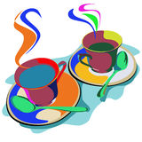 Two cups of coffee in the abstract. Two cups of coffee in a variety of colors Stock Photo