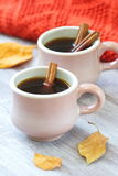 Two cups of coffee in autumn Stock Photos