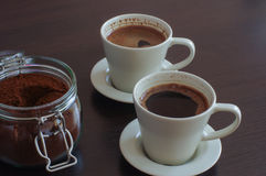 Two cups of coffee. Breakfast, in two Royalty Free Stock Photography