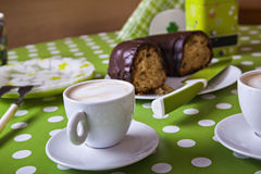 Two Cups Of Coffee And Bundt Cake Stock Photography