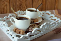 Two cups of coffee Stock Images