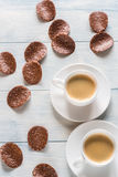 Two cups of coffee with chocolate chips Stock Image