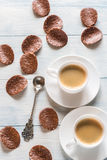 Two cups of coffee with chocolate chips Stock Photo
