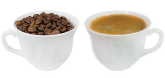 Two cups of coffee and coffee beans isolated Royalty Free Stock Image