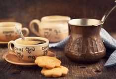 Two cups of coffee and cookies for breakfast Stock Photos
