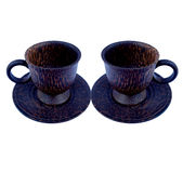 Two cups of coffee cup Wood Stock Images