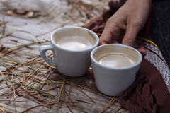 Two cups of coffee on a cut tree.  Stock Image