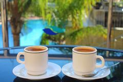 Two cups of coffee. Long Beach Resort&Spa Hotel, Alanya, Turkey. Two cups of coffee Stock Image