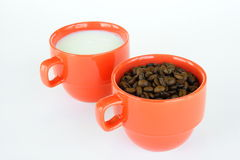 Two cups with coffee and milk Stock Image