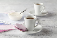 Two Cups of coffee serving on shabby chic background Royalty Free Stock Photo