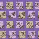 Two cups of coffee in the squares. Purple background. Seamless pattern. Design for textiles, wall hangings, wrapping paper Royalty Free Stock Image