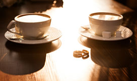 Two cups of coffee on the table, Stock Photos