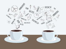 Two cups of coffee or tea on the table with cloud of business words above.  Royalty Free Stock Photography