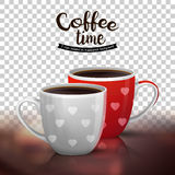 Two cups coffee  on transparent Stock Images