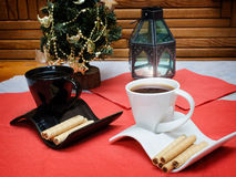 Two cups of coffee and wafer sticks Royalty Free Stock Image