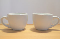 Two cups. Two coffee cups white ceramic Royalty Free Stock Photo