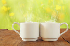 Two cups of coffee a wooden table in front of spring landscape Royalty Free Stock Images