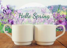 Two cups of coffee a wooden table in front of spring landscape Royalty Free Stock Photography