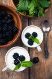 Two cups of creamy yogurt with blackberries Royalty Free Stock Photos