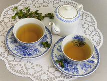 Two cups of delicious tea Stock Photo