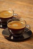 Two cups of espresso stock image
