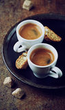 Two cups of espresso with cantuccini royalty free stock photos