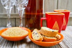 Two cups with espresso coffee and amandel cantuccini Stock Photo