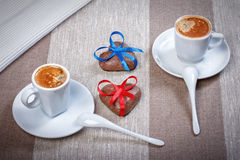 Two cups of espresso coffee, cookies in the shape of a heart dec Stock Photography