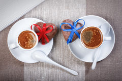 Two cups of espresso coffee, cookies in the shape of a heart dec Stock Images