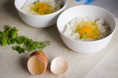 Two cups with fresh egg yolk is on the top of Japanese rice. Two cups with fresh egg yolk is on the top of rice stock photos