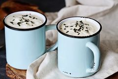 Two Cups of Fresh Hot Potato Soup with Bread Royalty Free Stock Photography
