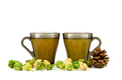 Two cups of green tea, fir-cone and physalis Royalty Free Stock Photography