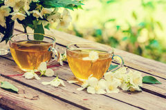 Two cups of green tea Stock Photo
