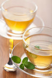 Two cups of green tea with mint Royalty Free Stock Images