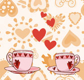 Two cups with hearts for Valentine Royalty Free Stock Photography