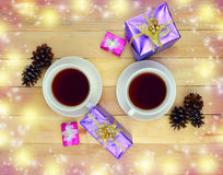 Two cups of hot beverage. Tea. Coffee. Time for communication. Royalty Free Stock Photo